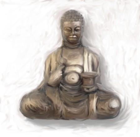 Digital painting of Buddha Stok Fotoğraf