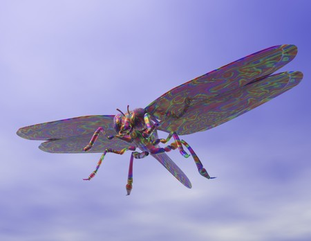 Digital visualization of a dragonfly photo