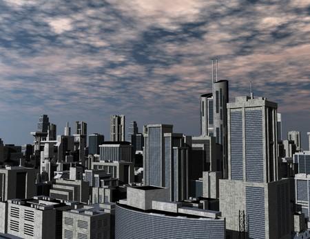 미래 지향적 인 도시의 디지털 렌더링