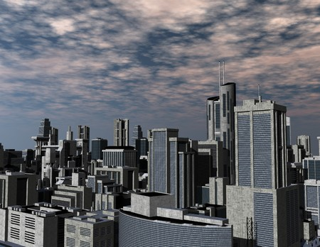 surrealistic: digital rendering of a futuristic city Stock Photo