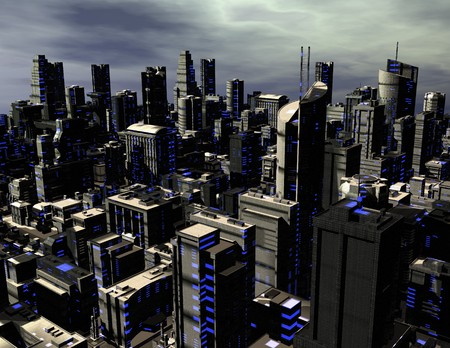 digital rendering of a futuristic city photo