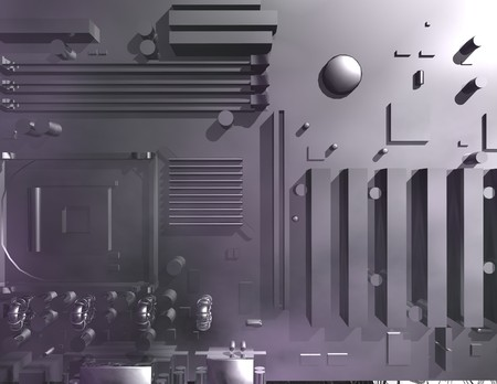 controling: digital rendering of a mainboard Stock Photo