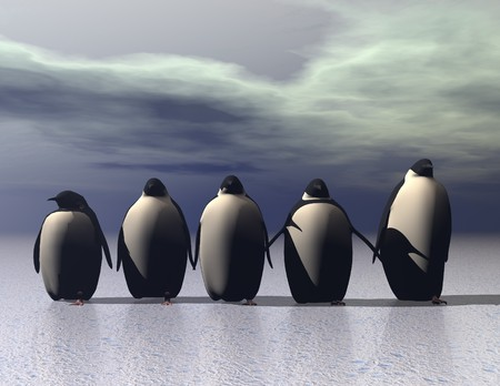 surrealistic: digital rendering of penguins on ice