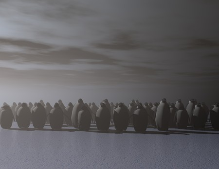 climatology: digital rendering of penguins on ice