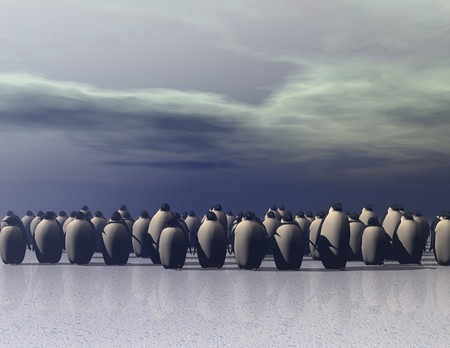 climatic: digital rendering of penguins on ice