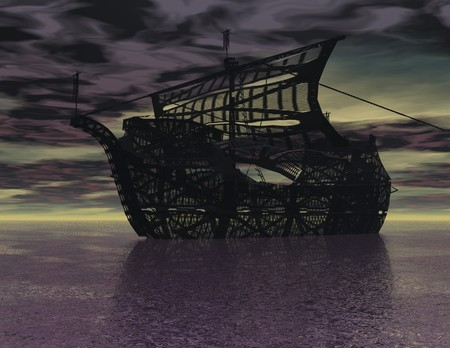 photorealism: digital rendering of o surrealistic ship Stock Photo