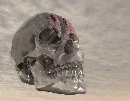 cranial skeleton: digital visualization of a crystal skull with brain Stock Photo