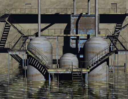 flooded: digital visualization of an industrial building Stock Photo