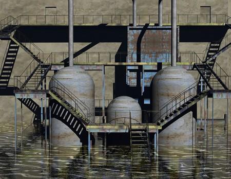 digital visualization of an industrial building Stok Fotoğraf