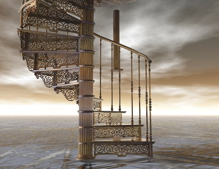 spiral stairway: digital visualization of a spiral staircase Stock Photo