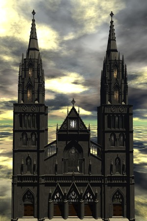 digital rendering of a cathedral photo