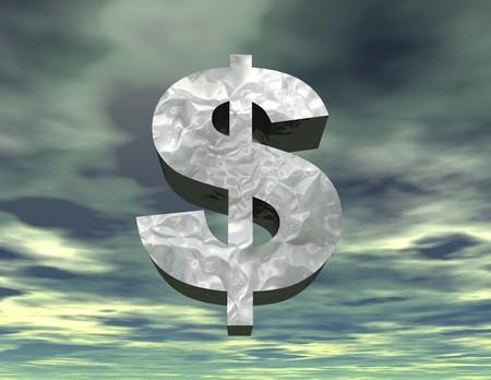 waste money: digital visualization of a dollar symbol
