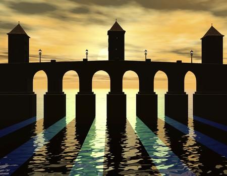 illusionary: digital rendering of a bridge