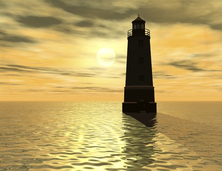 illusionary: digital rendering of a lighthouse