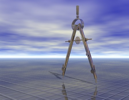 surrealistic: digital rendering of a pair of compasses Stock Photo