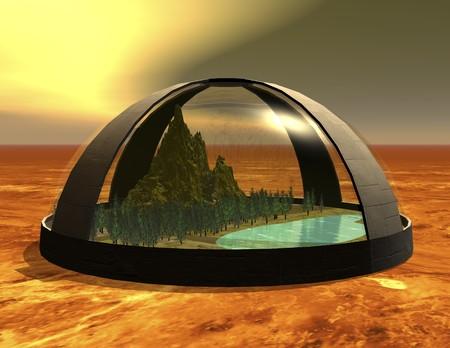 biosphere: digital rendering of a science fiction biosphere