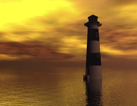 illusionary: digital visualization of a lighthouse Stock Photo