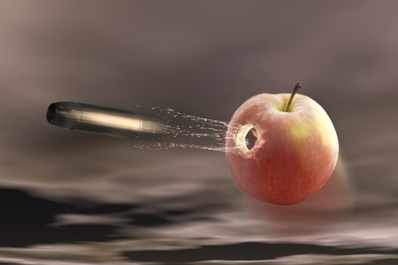 surrealistic: digital visualization: bullet shots through an apple