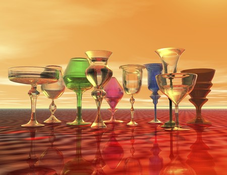 surrealistic: digital rendering of goblets Stock Photo