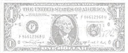 dollarbill: Dollar Bill in ASCII Art Stock Photo