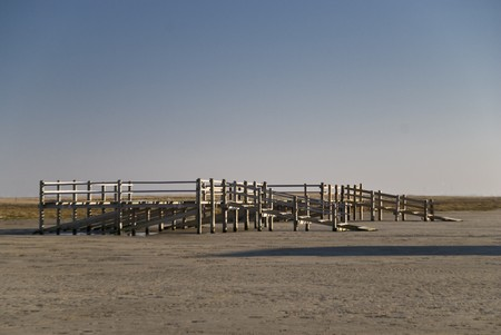pile dwelling: Scene in St.Peter-Ording, Germany Stock Photo