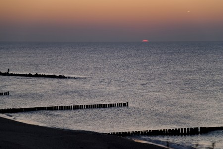 Beach of Ahrenshoop, Germany in the evening photo