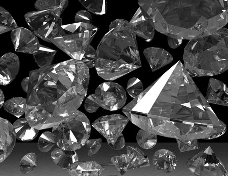 is raining: digital visualization of diamonds Stock Photo