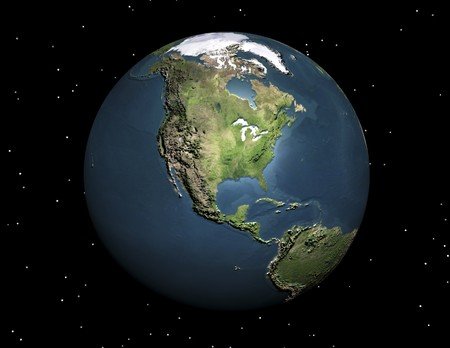 virtual space: digital visualization of the earth Stock Photo