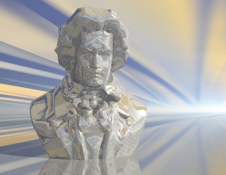 beethoven: digital visualization of a beethoven statue Stock Photo