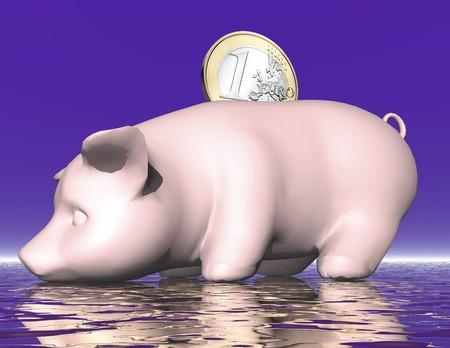 shortfall: digital visualization of a piggybank Stock Photo