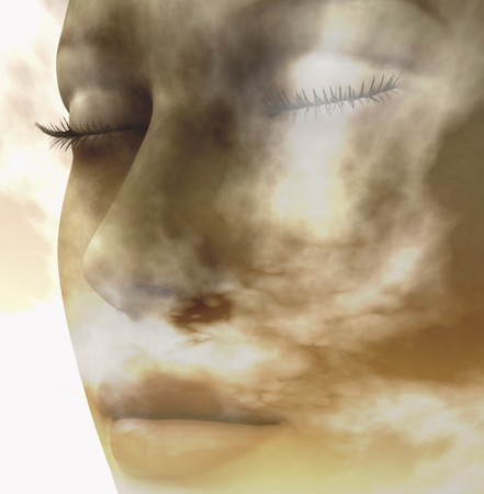Digital composition of a female face  one of four elements: air