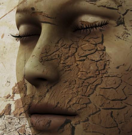 alquimia: Composición digital de un rostro femenino y uno de los cuatro elementos: tierra
