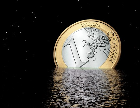 monetary devaluation: digital visualization of a sinking euro