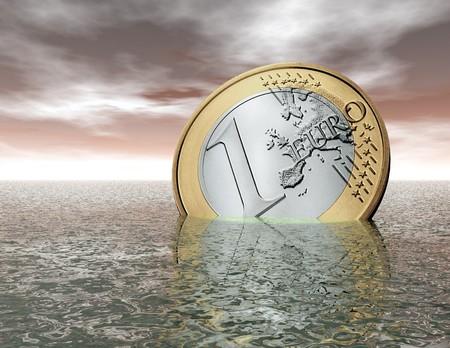 crisis economica: visualizaci�n digital de un euro de hundimiento  Foto de archivo