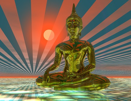 nirvana: digital visualization of a buddha statue Stock Photo