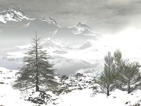 digital visualization of a winter landscape Stock Photo - 8118278