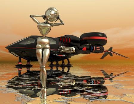 digital rendering of a science fiction scene photo