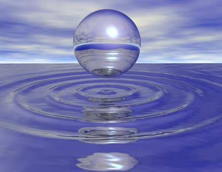 digital rendering of a bubble on water
