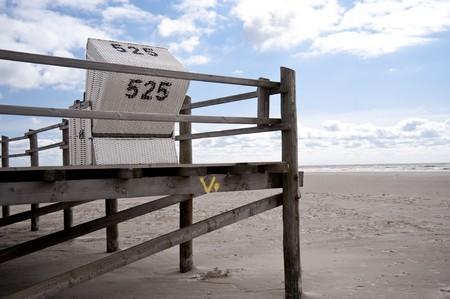 pile dwelling: beach scene in st. peter-ording  germany