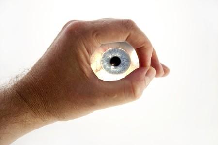 globo ocular: composici�n de la mano y los ojos  Foto de archivo