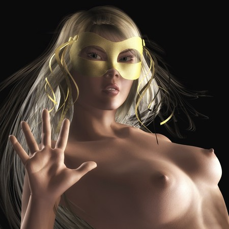 beautiful breasts: Digital visualization of a girl Stock Photo