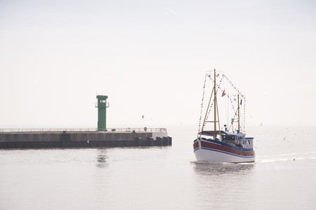 shrimp boat: Scene in the port of Buesum, Germany
