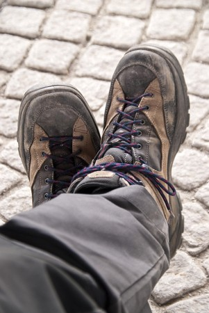 wanderstiefel: Close up of hiking boots