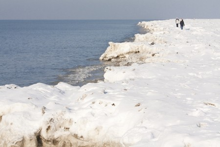 Winterscene with pack-ice in the north-sea