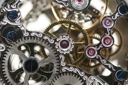 rueda dentada: cerca de un reloj mec�nico  Foto de archivo