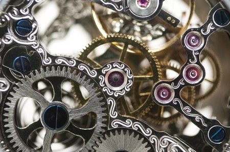 clockwork: close up of a mechanical clockwork