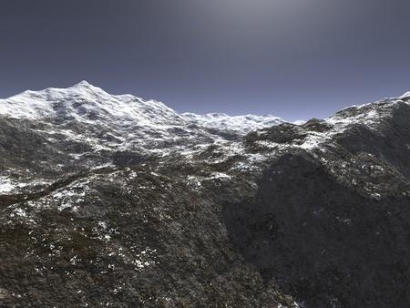 winter range: digital visualization of a mountain