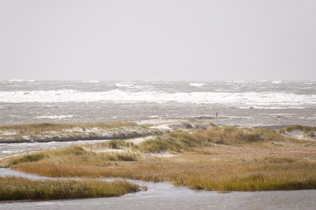 pile dwelling: storm flood in st. peter-ording, germany Stock Photo