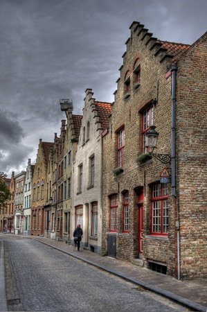 buildings in the old town of bruges, belgium (hdr) 스톡 콘텐츠