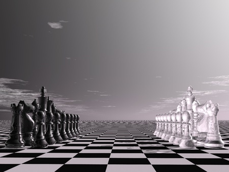 enmity: digital visualization of a chessboard Stock Photo